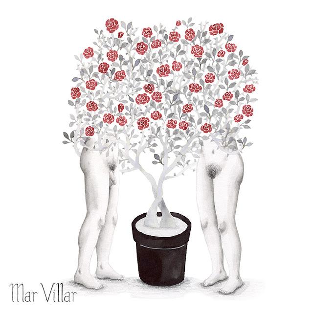 Inktober, Inktober 2016, plantas, rosal enano, ilustración a tinta, pareja, rosas, tinta, aguada de tinta, quink, tinta parker