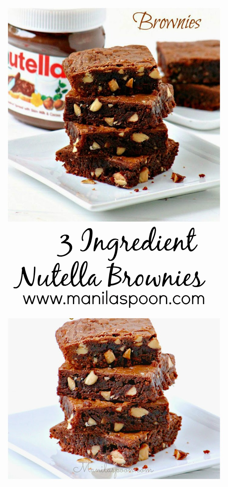 Fudgy, nutty, yummy - everything I love in a brownie - 3-INGREDIENT NUTELLA BROWNIES! GLUTEN-FREE and all-purpose flour options for you to choose from. #nutella #brownies #3ingredients #glutenfree