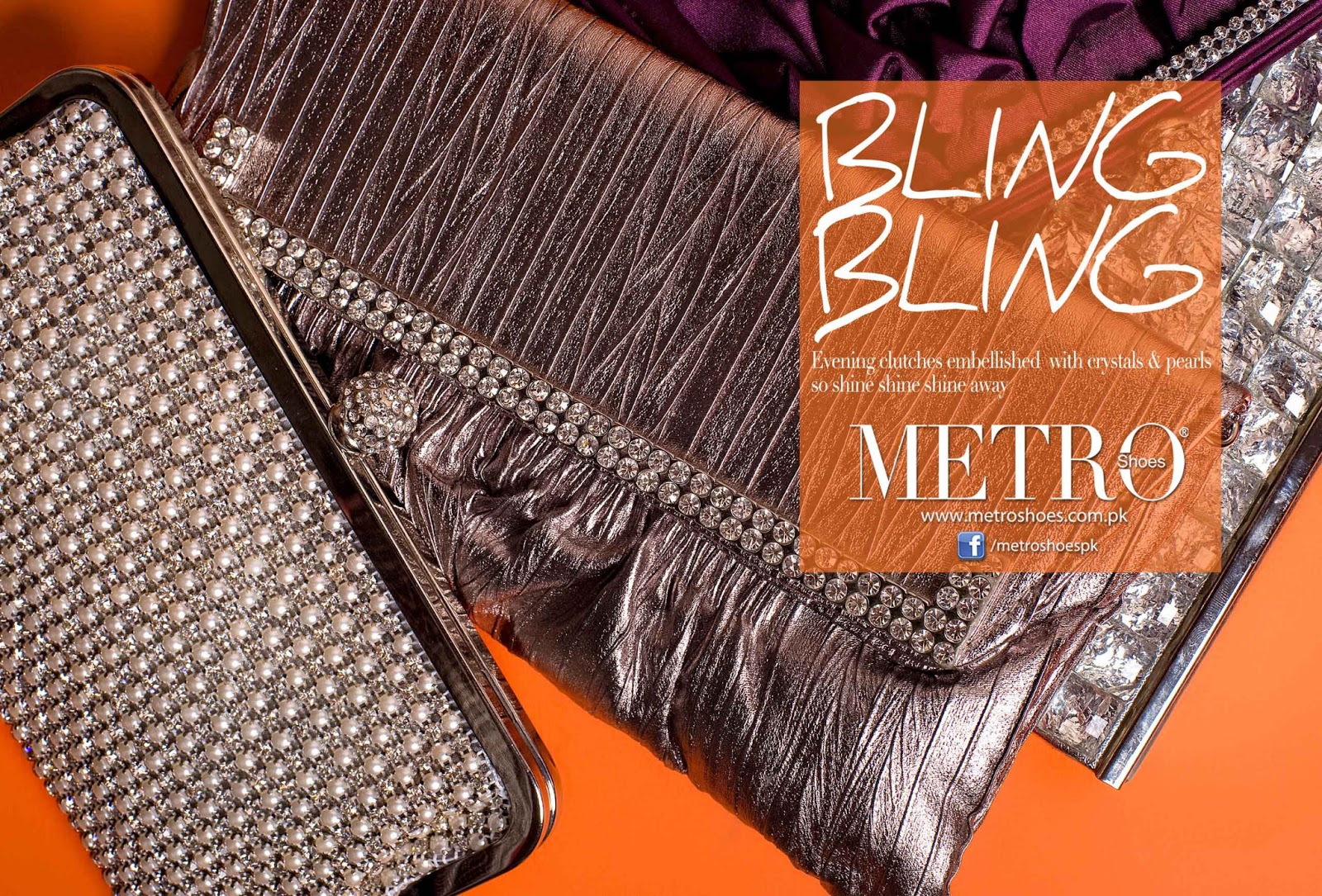 discover latest trends select for genuine meticulous dyeing processes Footwear Model: Bling Bling Clutches Collection At Metro Shoes
