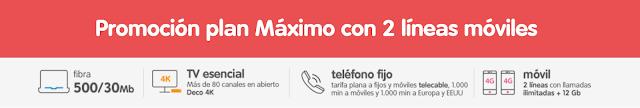 Promoción plan Máximo con 2 líneas móviles Telecable