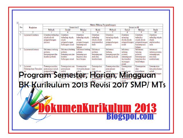 Program Semester Harian Mingguan Bk Kurikulum 2013 Revisi 2017 Smp Mts