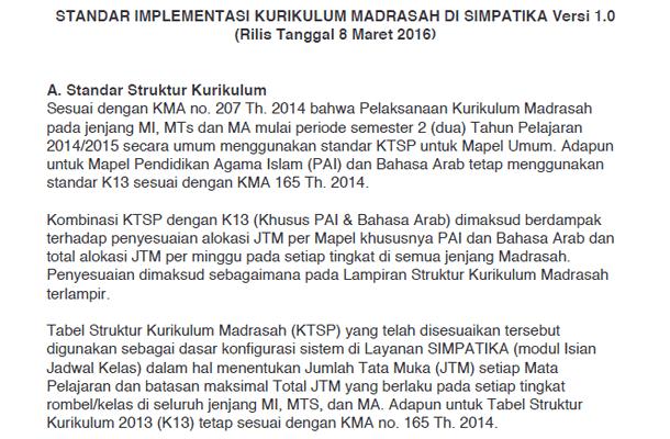 Standar Implementasi Kurikulum Madrasah di SIMPATIKA