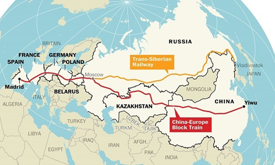 中国浙江省金華市義烏(Yiwu)からモスクワ経由でスペインのマドリッドまでの貨物鉄道の地図