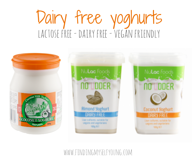 Dairy free yoghurt alternatives - alpine coconute yoghurt, no udder coconut yoghurt and no udder almond yoghurt.