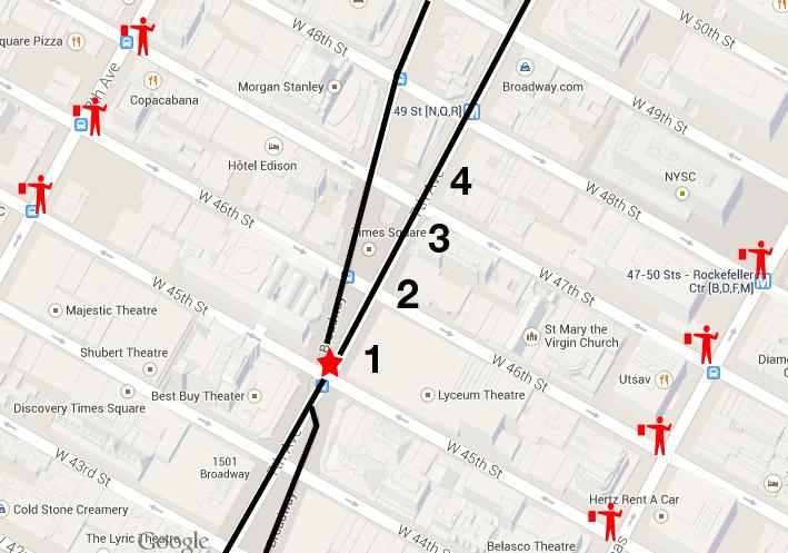 Fin de año en Nueva York mapa de acceso Times Square