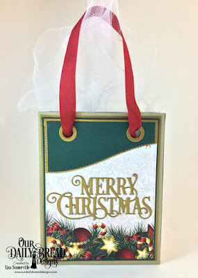 Our Daily Bread Designs Custom Dies: Card Caddy & Gift Bag, Gift Bag Handles & Topper, Merry Christmas Caps, Leafy Edged Borders, Paper Collection: Christmas 2017