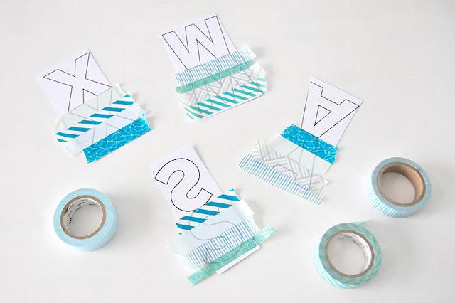 Freebie Buchstaben Washi Tape