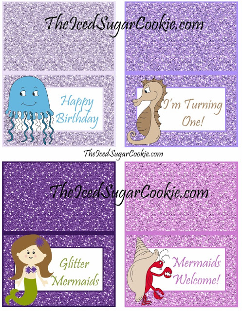 Happy Birthday, I'm Turning One! Glitter Mermaids, Mermaids Welcome! DIY Glitter Mermaid Food Label Tent Cards Birthday Party-Printable Template digital download Jellyfish seahorses mermaids crabs