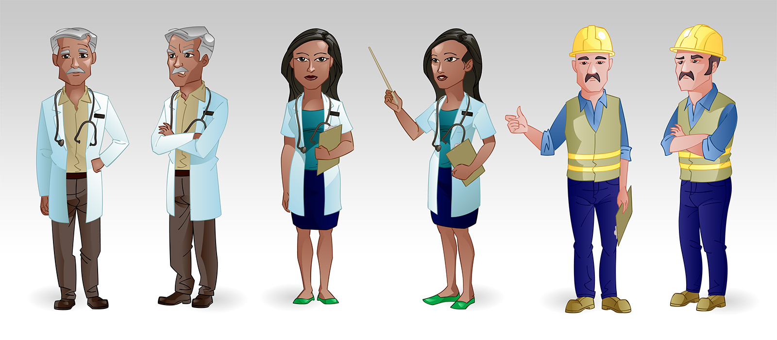doctor worker e-learning characters