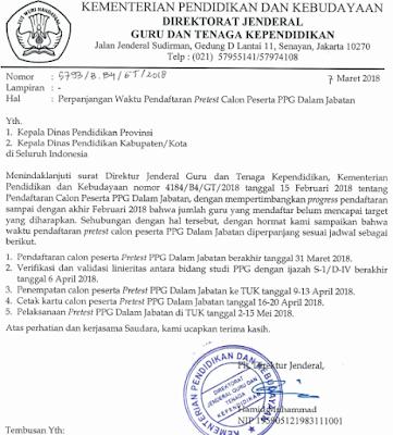 gambar surat edaran Perpanjangan Waktu Pendaftaran PPG Dalam Jabatan