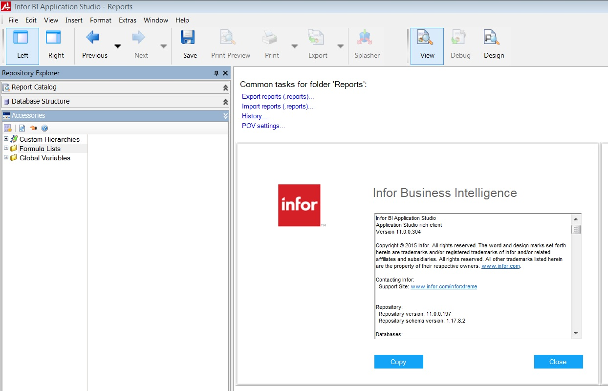 aka app studio is the report widget building tool in infor bi its like cognos in ibm or ssrs in microsoft or could be compared to crystal reports