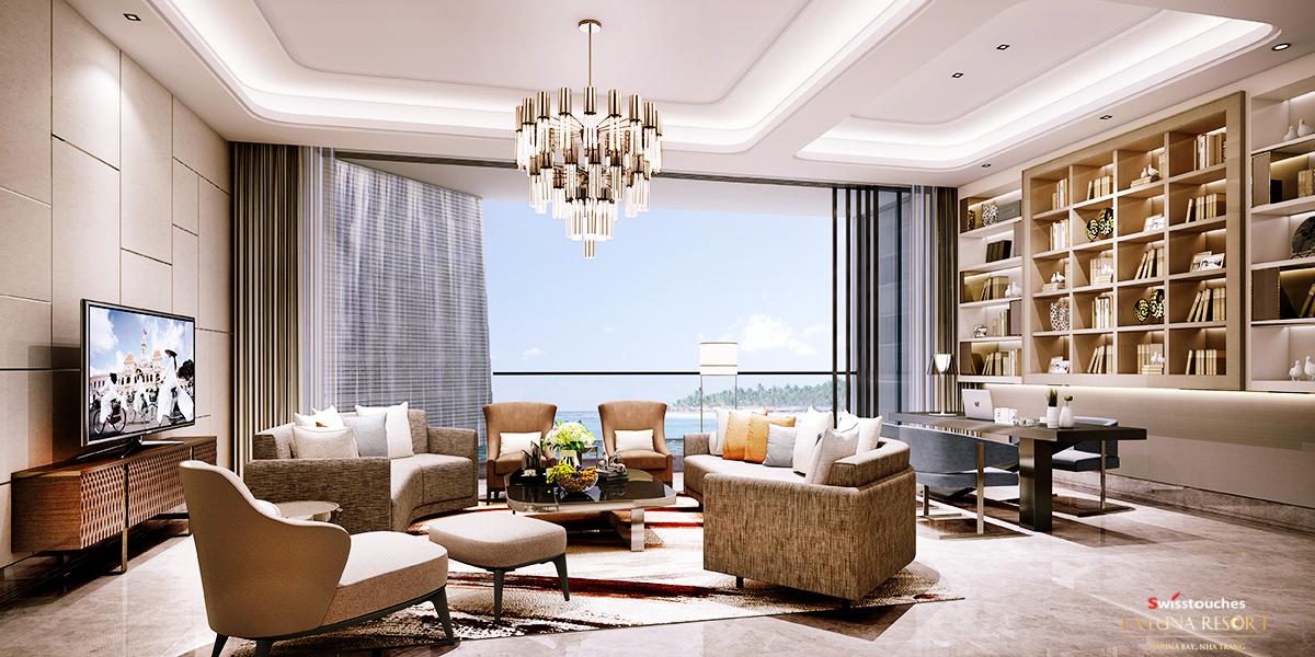 Phòng khách căn hộ La Luna Resort
