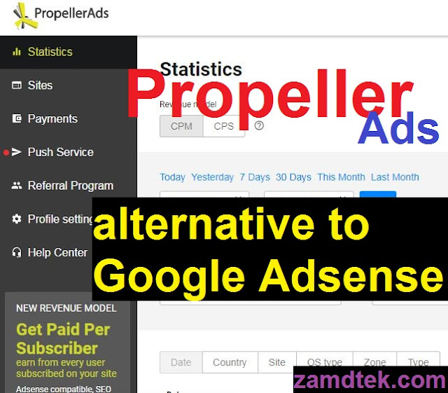 Propellers ads an alternative ads to Google Adsense