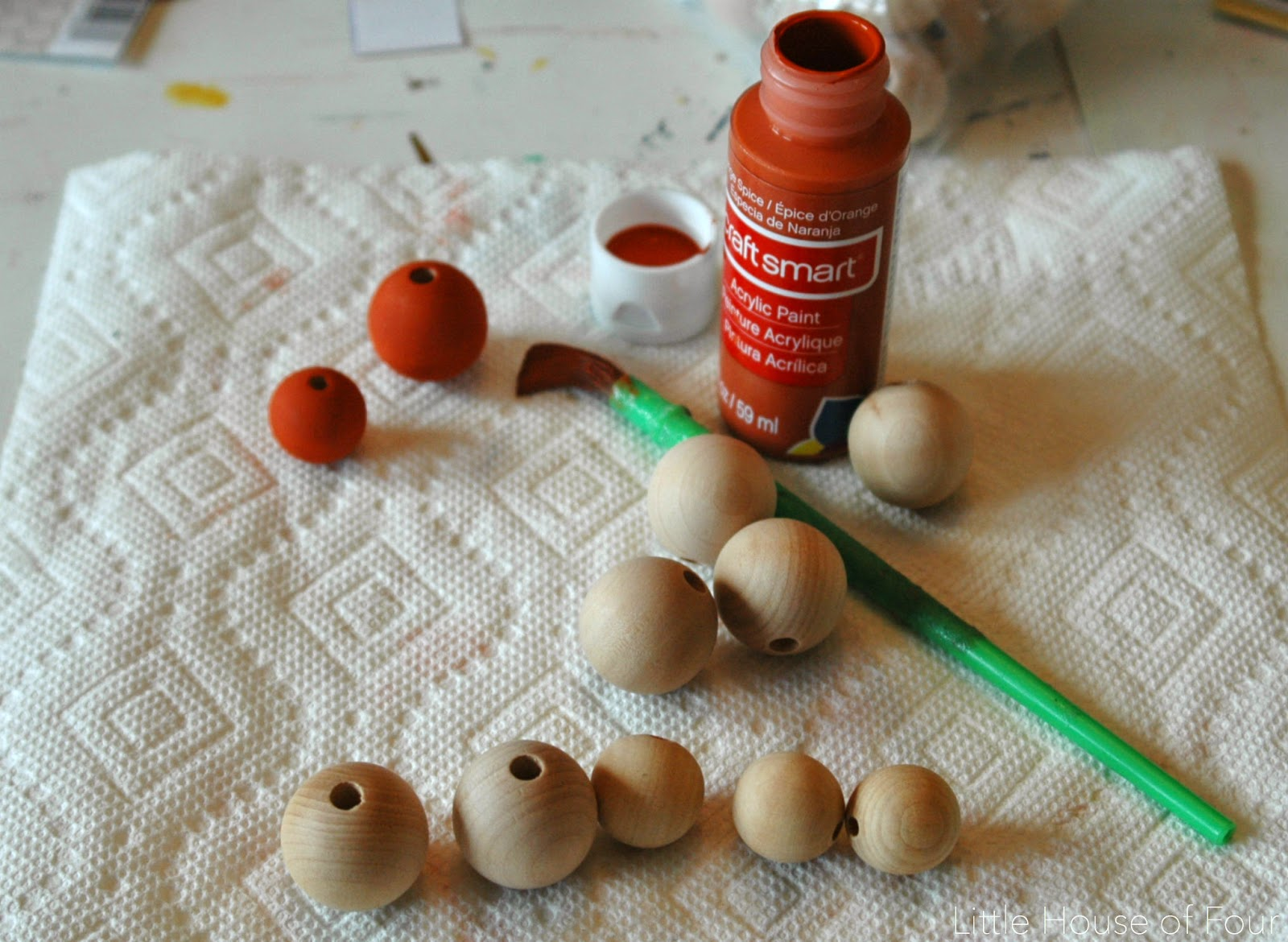 How to make wooden pumpkins our of craft beads