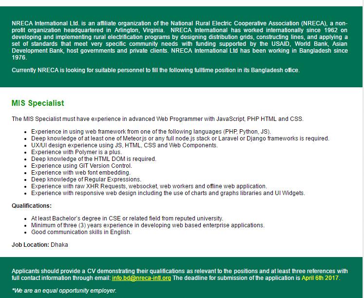 Nreca International Ltd Mis Specialist Job Circular 24032017