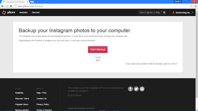 Cara Backup (Download) Semua Foto Kita yang Ada di Instagram Hermanbagus start bakcup