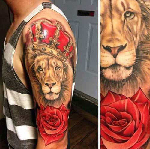 erkek üst kol aslan kral dövmesi man upper arm lion king tattoo