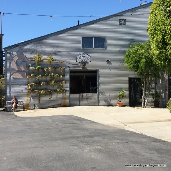 exterior of Lilla Bello floral gallery at Bergamot Station Arts Center in Santa Monica, California
