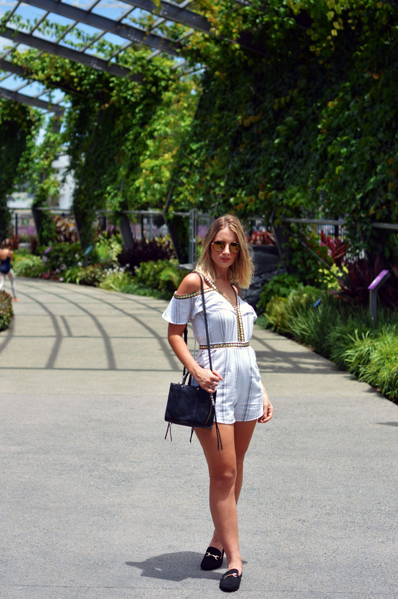 rebecca minkoff mini tote styled with minimalist boho playsuit
