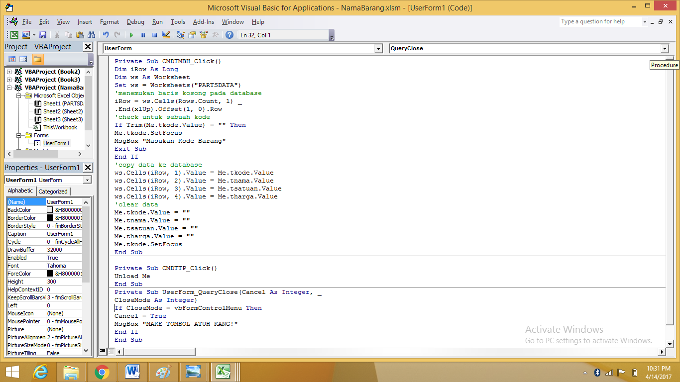 Membuat Form Isian Data Sederhana Dengan Macros Di Excel