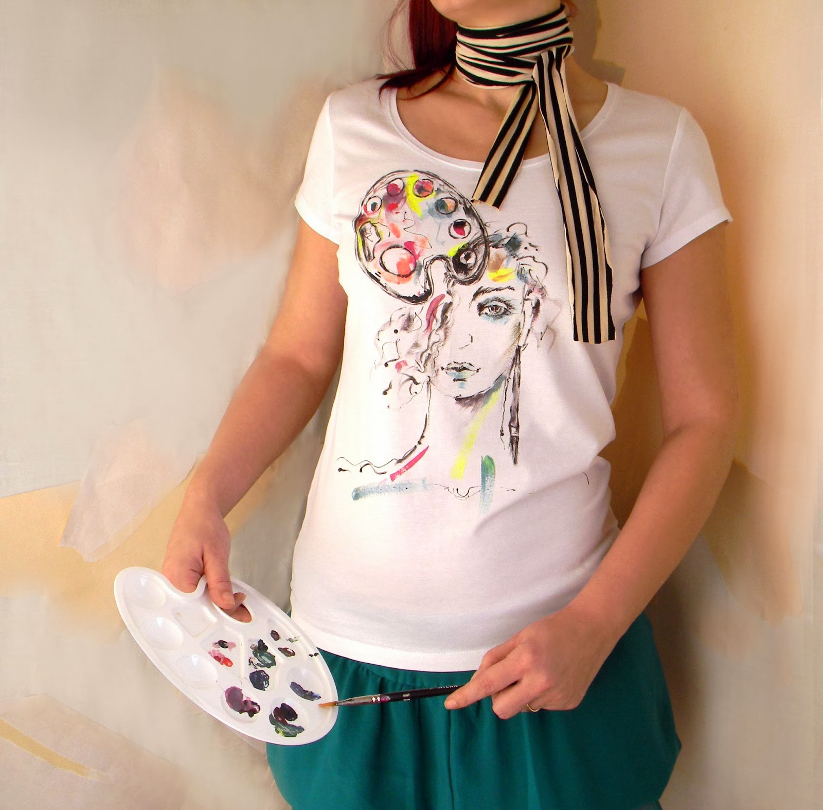 Cotton Knit Tshirt with Hand Painted Fashion Illustration and Fancy Striped Scarf or Belt-L Size