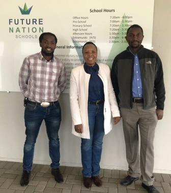 Xolani Sithemjwa, Mampho Langa and Thokozani Mhlanga at Future Nation Schools sign