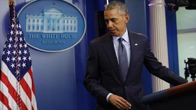 El presidente de EE.UU., Barack Obama, tras ofrecer un discurso sobre el tiroteo ocurrido en Orlando, 12 de junio de 2016.