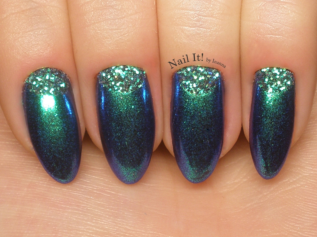 Indigo Pixel Effect Emerald & Mermaid Effect Black II - nail art, swatches and comparison