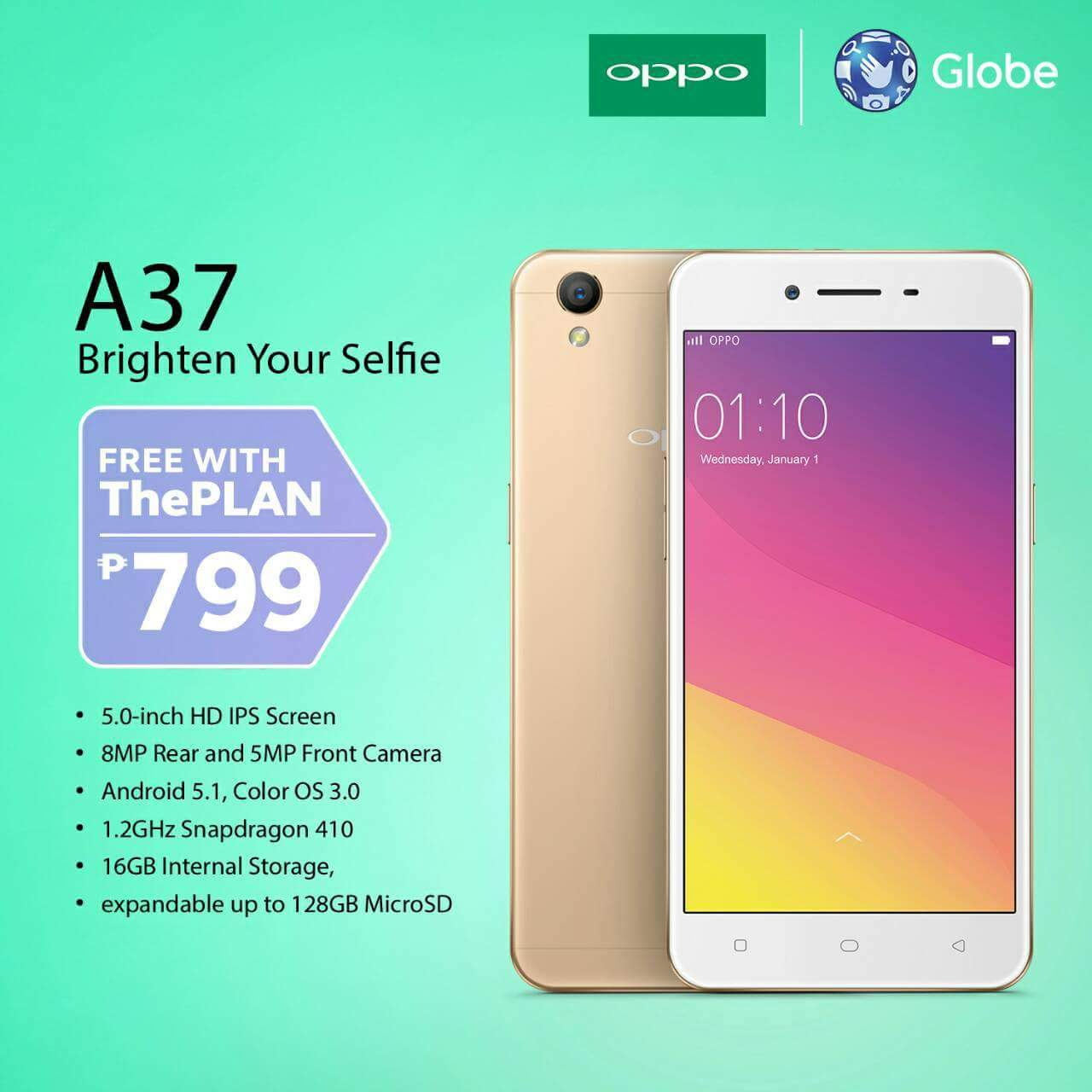 Oppo a37 now free on globe theplan 799 oppo a37 specs include has the cortex a53 version of qualcomm snapdragon 410 quad core processor coloros 30 based on android 51 lollipop stopboris Images