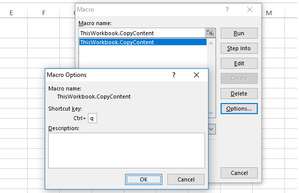 Adding short cut key to the visual basic macros  excel