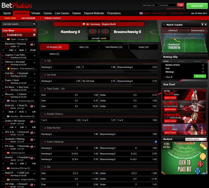 Betpluton Live Betting Screen
