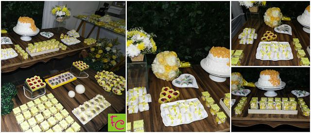 Casamento Amarelo e Branco - Bolo - Lembrancinhas - Doces