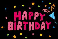 誕生日のイラスト「HAPPY BIRTHDAY・タイトル文字」