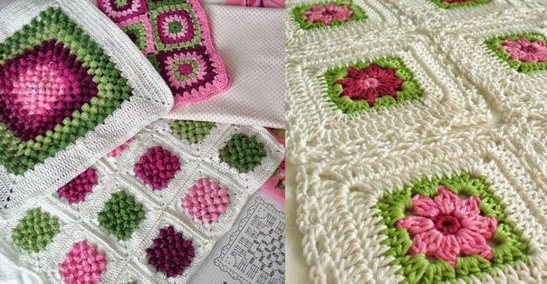 Mantas tejidas al crochet con grannys en tonos green & pink
