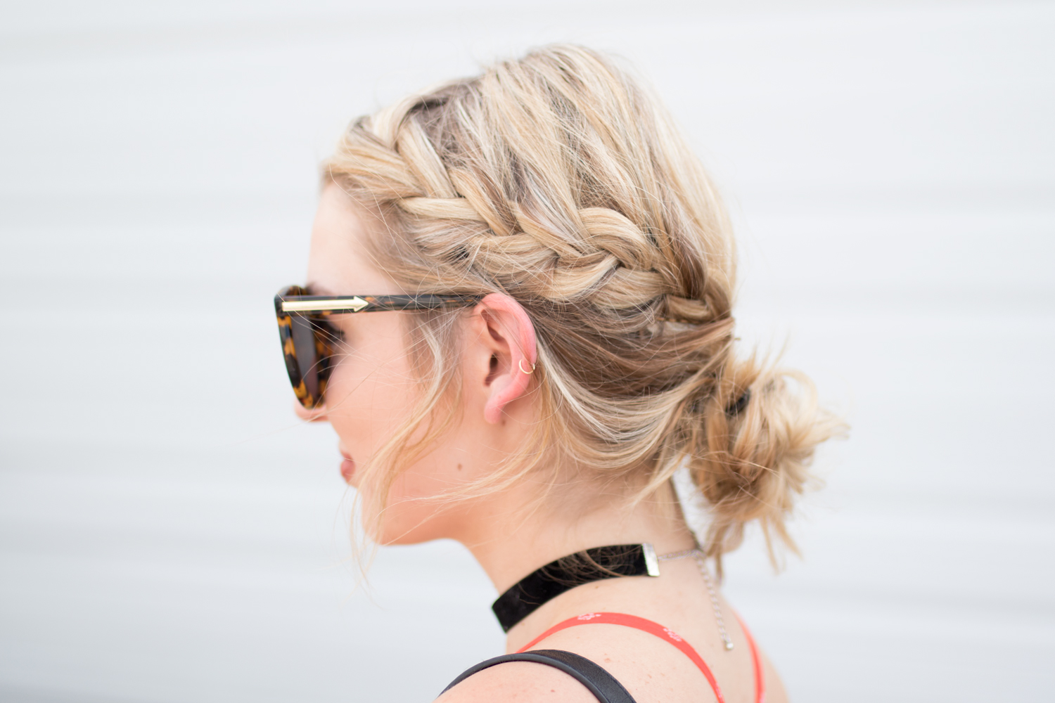 Dutch braide into messy bun
