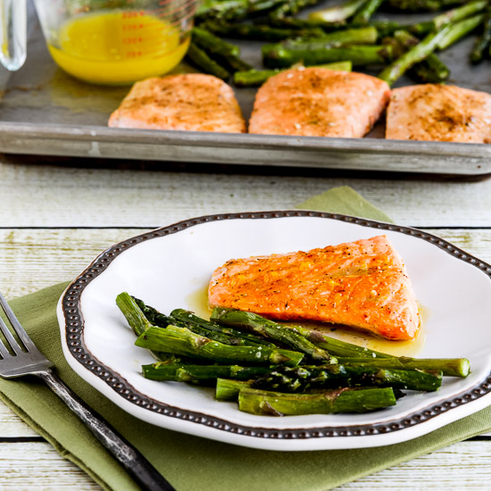 Roasted Lemon Salmon and Asparagus Sheet Pan Meal found on KalynsKitchen.com