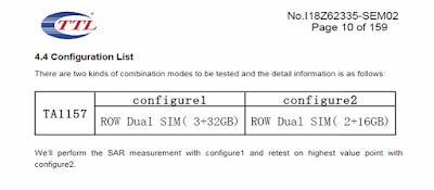 Nokia TA-1157 memory variants