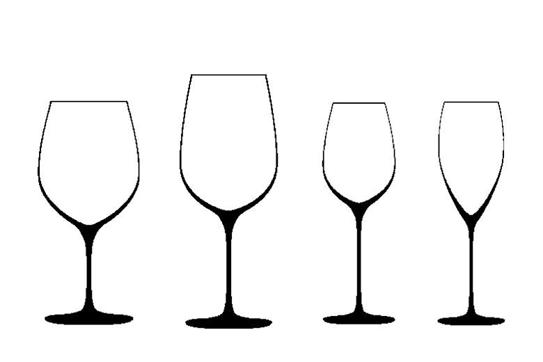 四種酒杯示意圖
