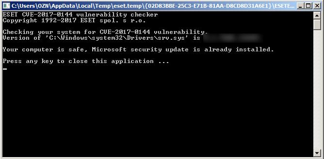 Wannacry - ESET EternalBlue Vulnerability Check