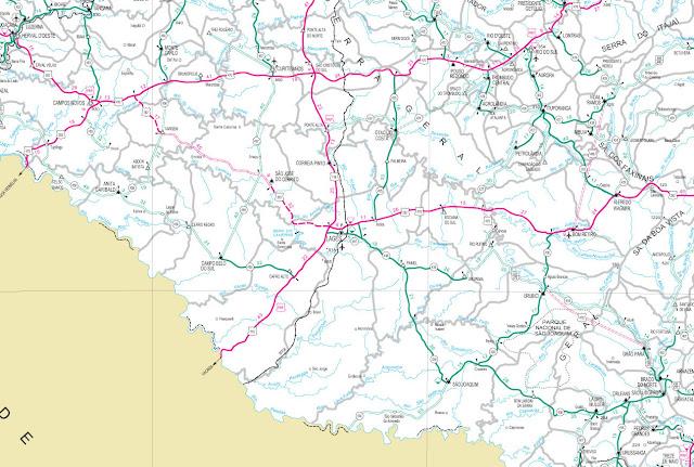 Mapa rodoviário DNIT Lages - Santa Catarina