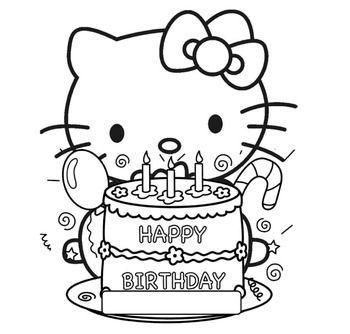 Tranh tô màu mèo hello kitty đi sinh nhật