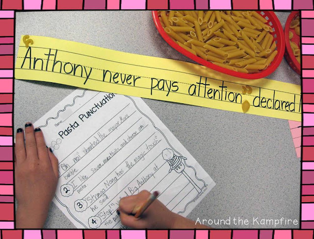 FREE pasta punctuation printable we used during our Tomie dePaola author study from Around the Kampfire blog