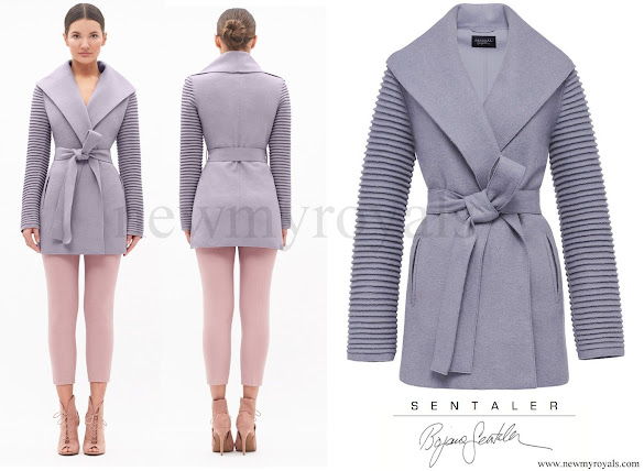 Kate Middleton wore a Ribbed Sleeves Wrapped Coat by Canadian designer Sentaler. The 'Kate Coat'