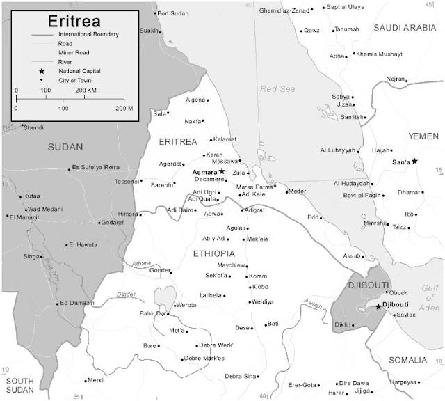 image: Black and white Eritrea map