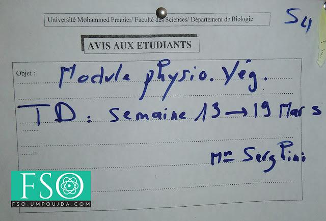 SVI S4 : Date de commencement des TD de Physiologie Végétale