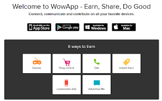Main page of WowApp