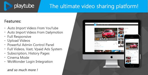 PlayTube v1.3 - The Ultimate PHP Video CMS e plataforma de compartilhamento de vídeo