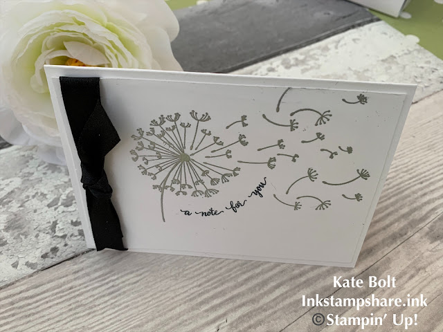 Hand made card using the Dandelion Wishes stamp set in Black and White with Silver embossing.
