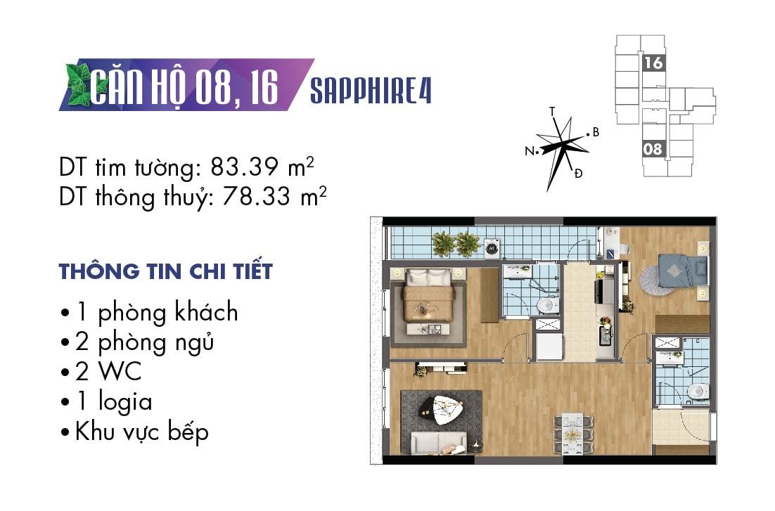Mặt bằng căn hộ 08 và 16 tòa Sapphire 4