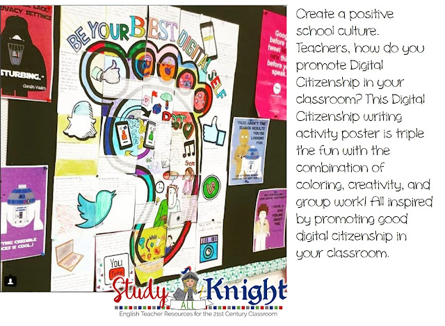 "Image asking, ""Teachers, how do you promote Digital Citizenship in your classroom? This Digital Citizenship writing activity poster is triple the fun..."" with an image of a footprint saying ""Be Your Best Digital Self"""